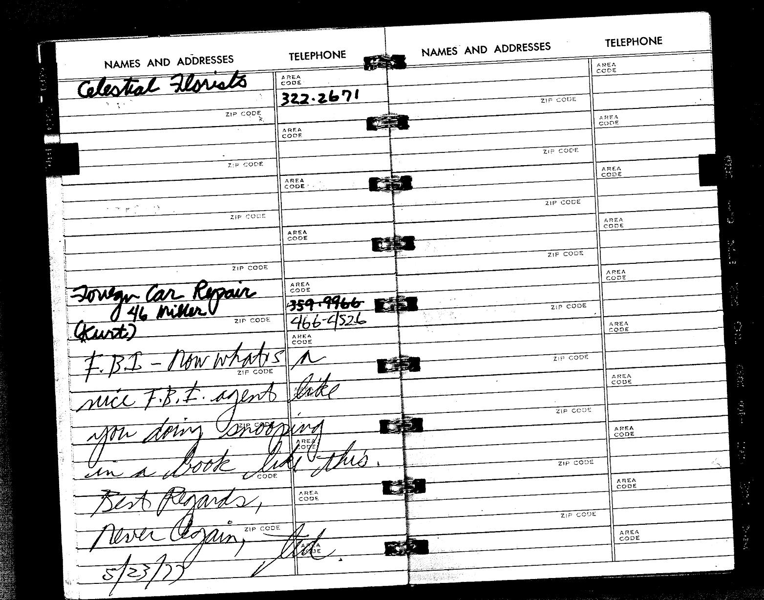 Ted Bundy Colorado diary address book first escape FBI note