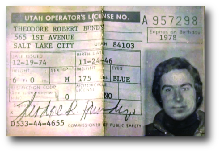 Ted Bundy Utah drivers license
