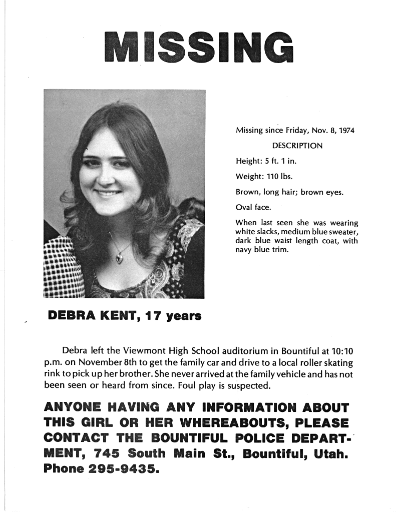 Debi Debra Kent Ted Bundy missing Bountiful Utah
