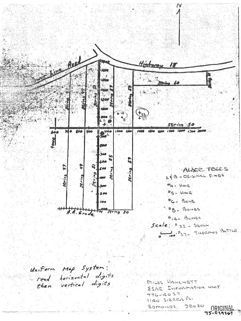 Taylor Mountain Ted Bundy crime scene Washington 1975 skull map